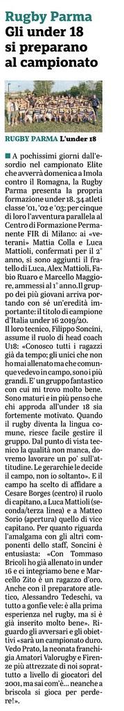 Gazzetta di Parma 02.10.19 - Gli Under 18 si preprano al campionato