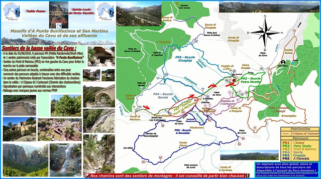 Plan des sentiers avec le PR3 parcouru en traversant le Cavu vers la fin
