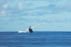 The Republic of Singapore Navy frigate RSS Intrepid (69) fire a Harpoon anti-ship missile in the waters off Guam, Oct. 1. (Republic of Singapore Navy photo)