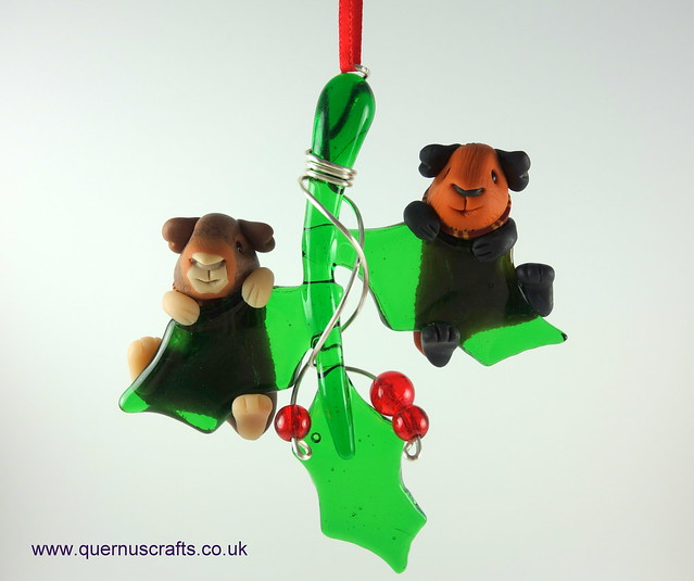 Two Gryffindor Guinea Pigs on Glass Holly
