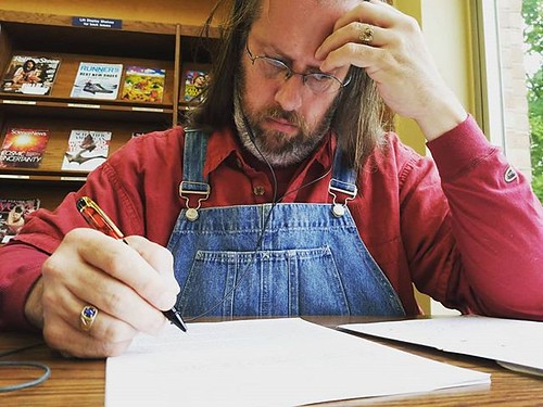 Had my first real writing session in a couple weeks today. It's taken this long to recover mentally from my September beat-down. Hoping to keep the keels even for a while! #amwriting #writersofinstagram #writerinoveralls #editing #overalls #dungarees #bib