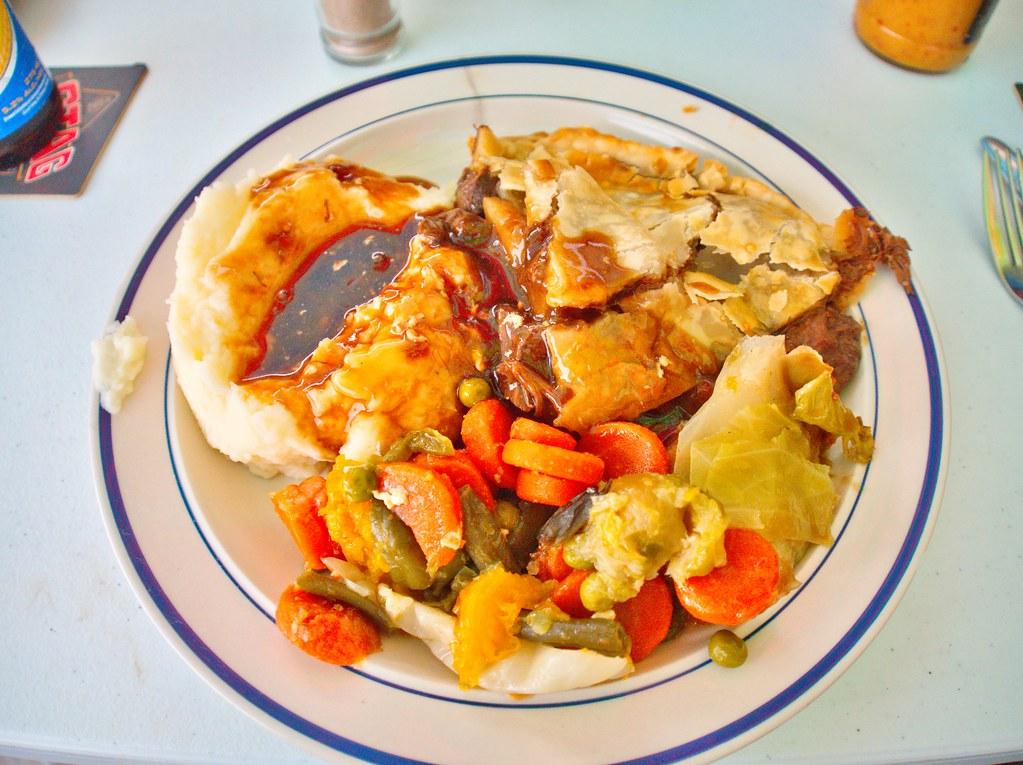 A big plate of food! Steak pie, mash, mixed veg and plenty ...