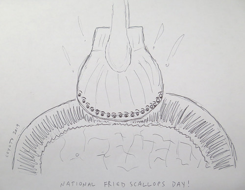 Inktober 2, 2019: National Fried Scallops Day
