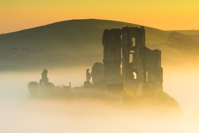Corfe Castle emerging from the mist
