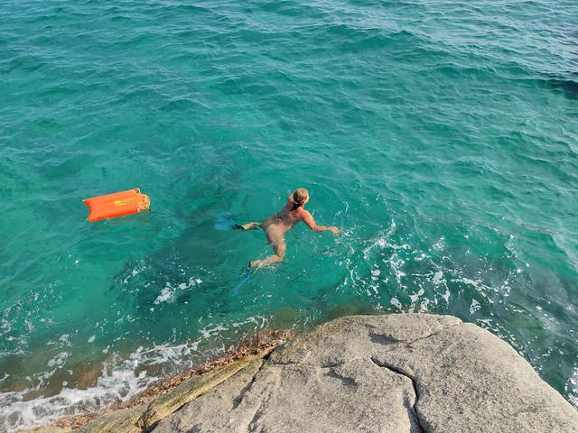 Swimimg around small island