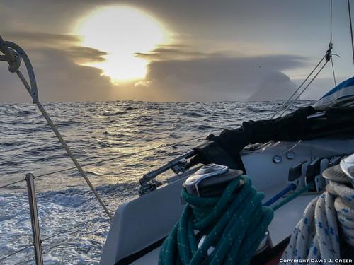 travel adventure sailtrainexplore rubicon3 explore experience voyage journey summer faroe islands sunrise dawn sailing sea ocean water waves clouds sailboat boat heeled faroeislands