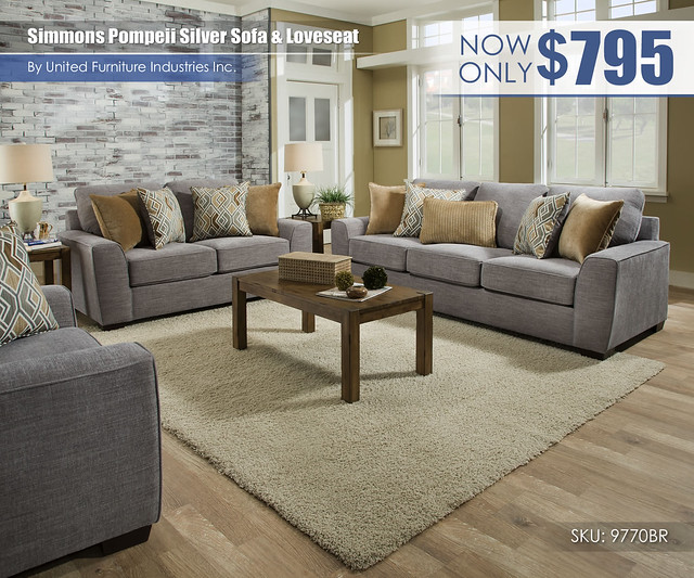 Simmons Pompeii Silver Sofa & Loveseat_United Furniture_9770BR