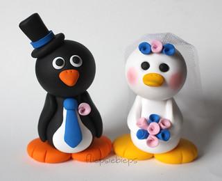 Penguin and Duck Wedding Cake Topper