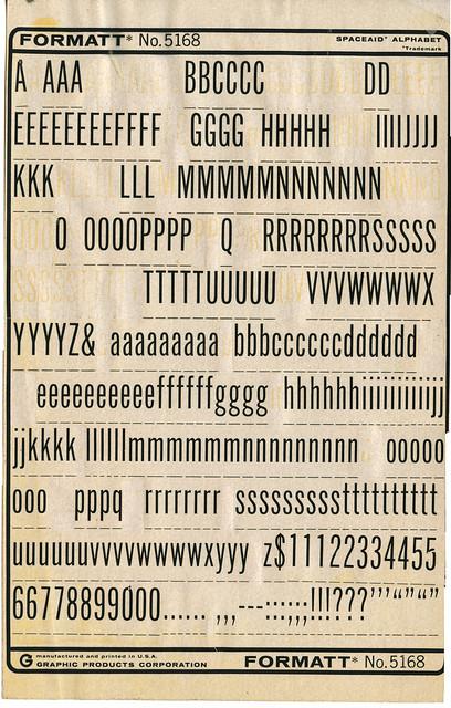Formatt 5168 Spaceaid Alphabet dry transfer