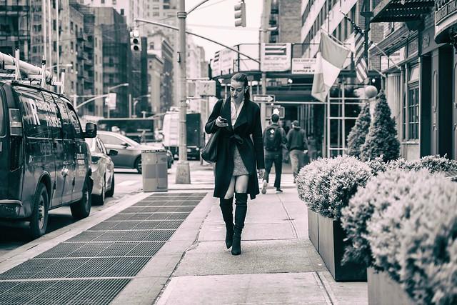 The sidewalk is her runway...