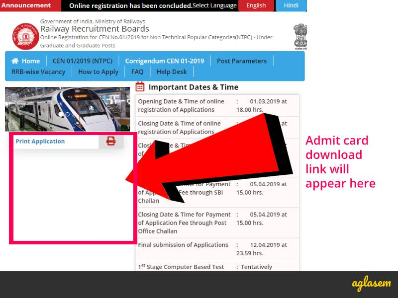 RRB NTPC Admit Card 2019 Download