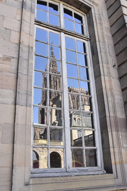 The reflection of the Notre Dame in Strasbourg