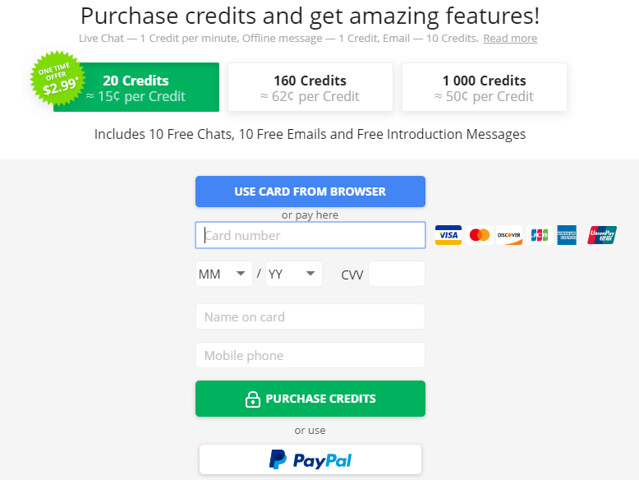credit and payment methods