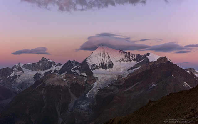 Weisshorn and Zinalrothorn at dawn