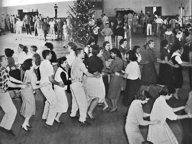 Students doing the Bunny Hop at the Christmas social in 1959 at Mary Star of the Sea High School in San Pedro, California