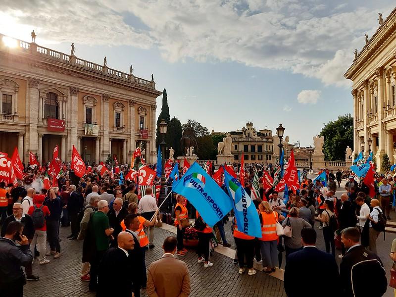 Presidio Cgil, Cisl e Uil Roma Metropolitane al Campidoglio