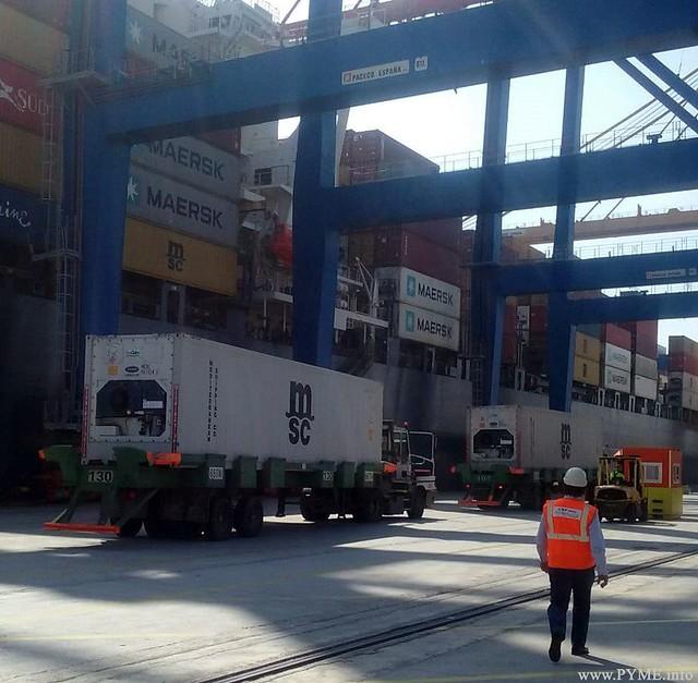 Uno de los contenedores refrigerados con mercancía salmantina durante su trámite de estibado en el Puerto de Valencia.