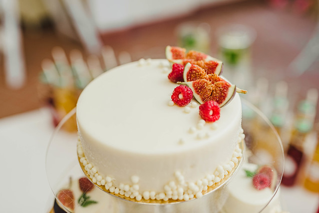 White Delicious Cake With Berries And Fruits On The Top