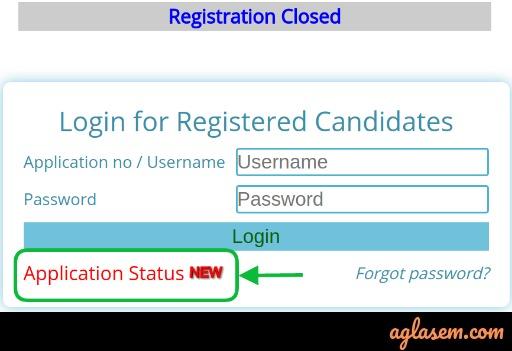 Application Status link