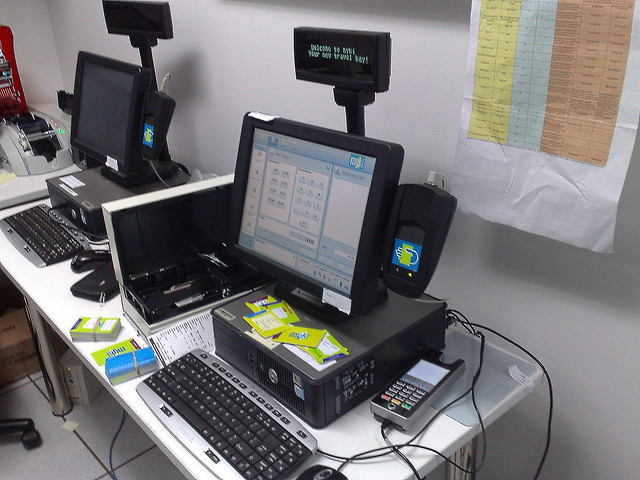 Myki test centre September 2009: Booking office computer and cards