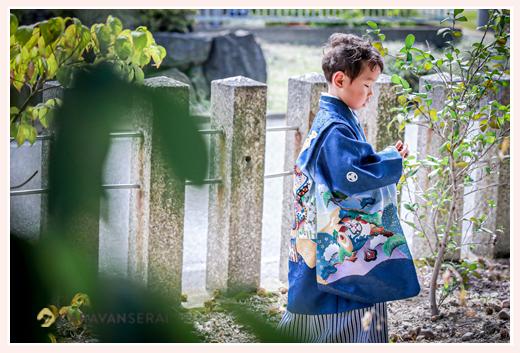 5歳の男の子の七五三 衣装はブルーの羽織袴