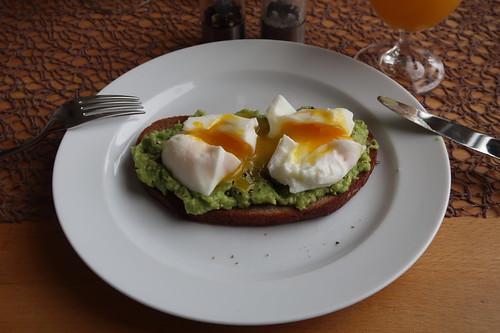 Pochierte Eier auf geröstetem und mit Avocadocreme bestrichenen Roggenmischbrot (mein Teller)