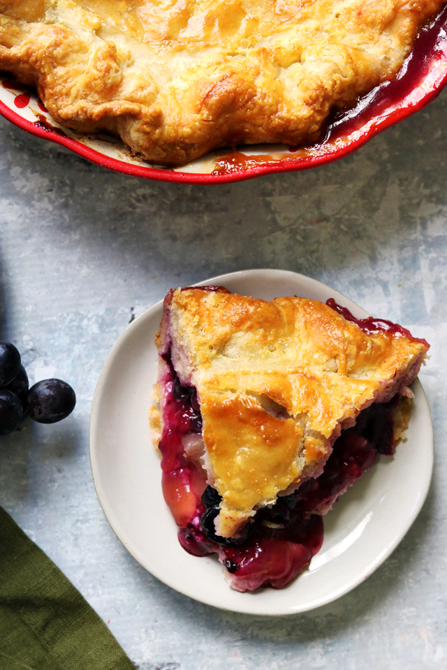 Concord Grape and Goat Cheese Pie