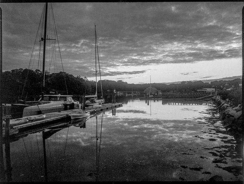 dusk, harbor, reflections, sailing vessels, Thomaston, Maine, Mamiya 645 Pro, mamiya sekor 45mm f-2.8, Bergger Pancro 400, HC-110 developer, 9.13.19