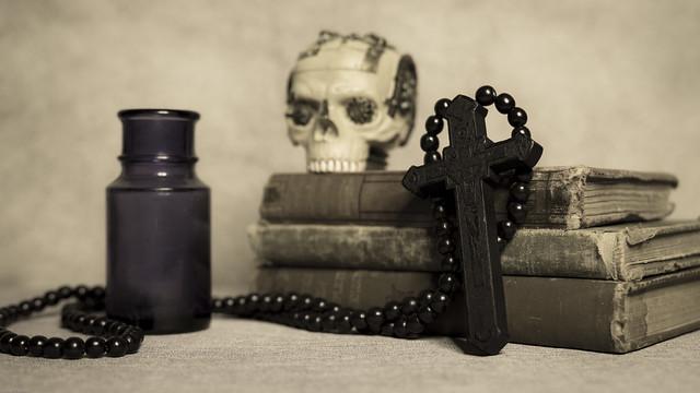 Antique Bottle, Vintage Books, Wooden Crucifix and Steam Punk Skull