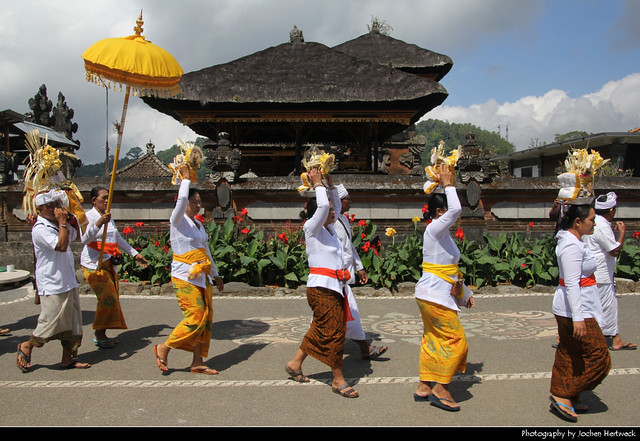 Worshippers at Pura Ulun Danu Bratan, Bali, Indonesia