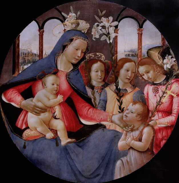 IMG_1413A Domenico Ghirlandaio 1449-1494  Florence Vierge à l'Enfant avec St Jean Baptiste et trois anges  Virgin and Child with St John the Baptist and three angels Cherbourg Musée des Beaux Arts Thomas Henry  Réplique d'atelier