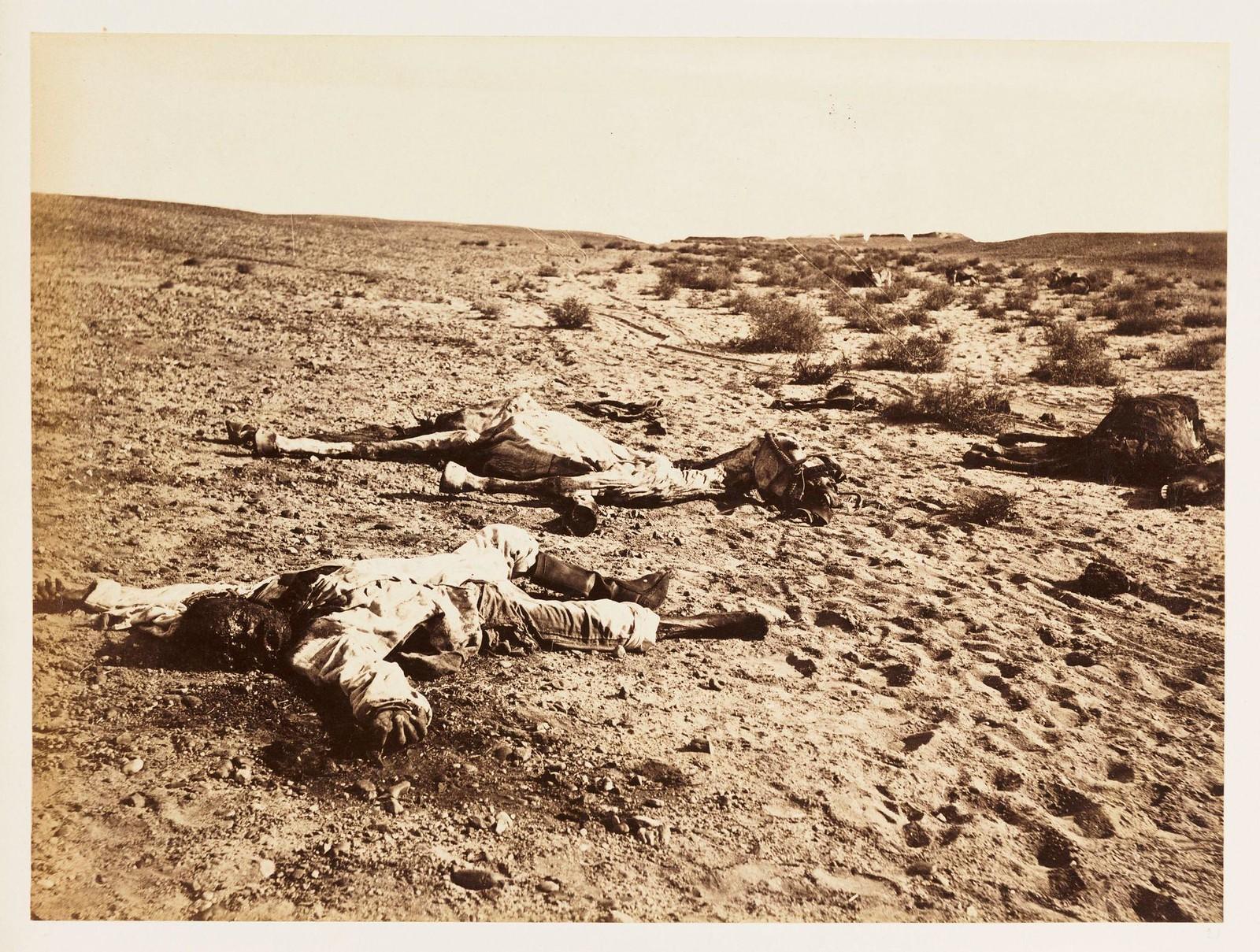 12. Фотография мертвого египетского солдата на поле битвы Tel-el-Kebir. Через три месяца после битвы это тело все еще ожидает захоронения. 6 декабря
