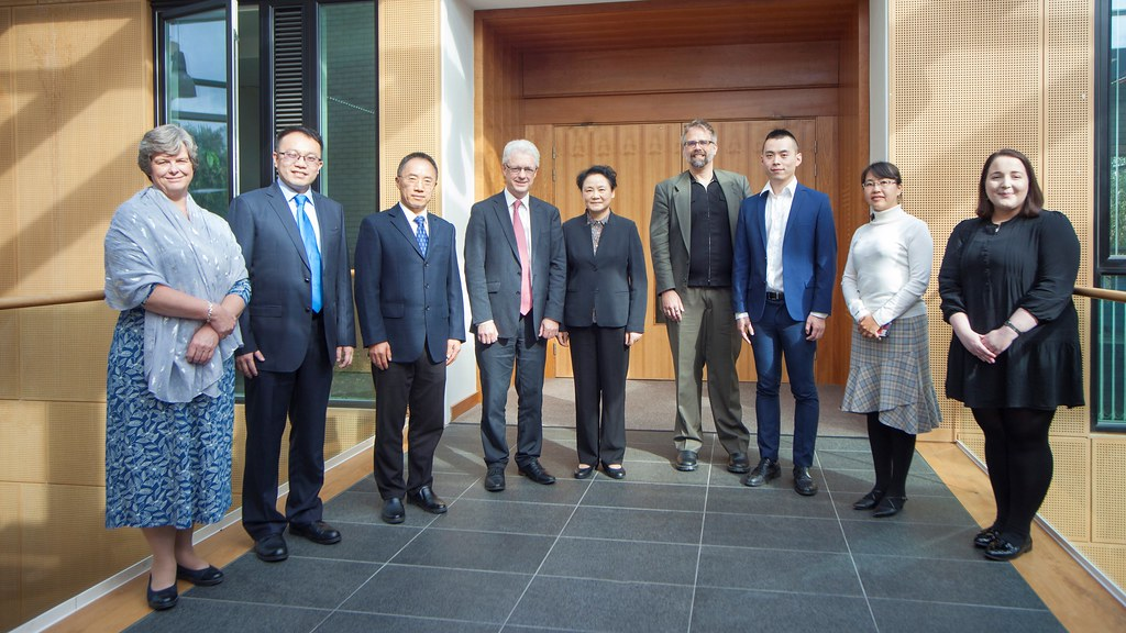 The Shanghai Academy delegation is greeted by University of Bath representatives