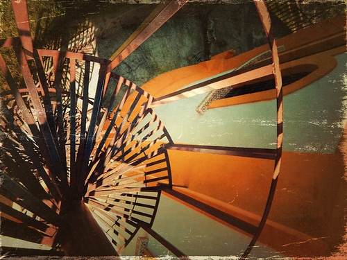 Spiral staircase in Mexico run through the photo app Stackables formula Old Postcard