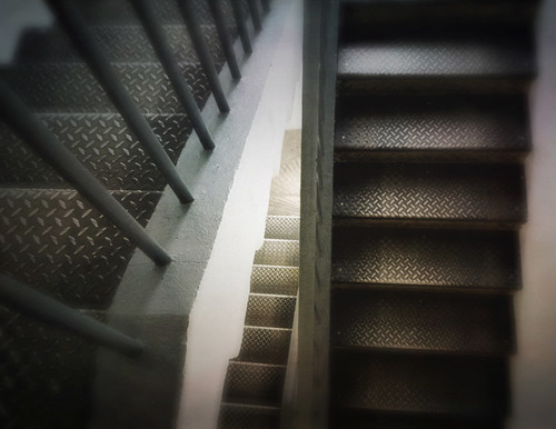 Metal stairs in Dublin's Decorative Arts Museum run through the photo app Stackables formula Soft Blur