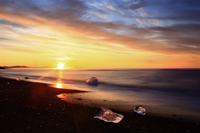 Ice litter on Icelandic beach
