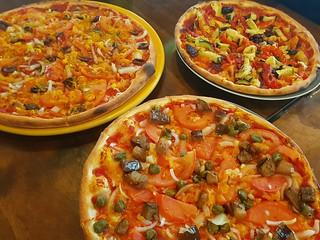 Pizzas (Melanzanne, Bruschetta, Marinated) at Pitstop Pizza