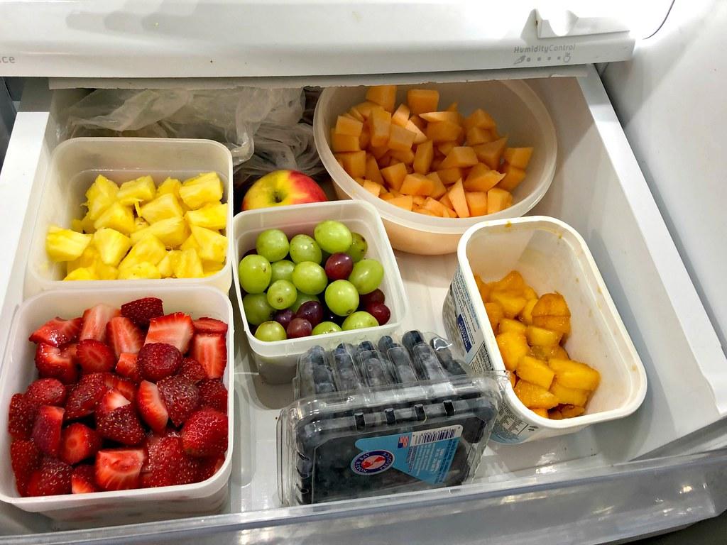 fresh fruit in fridge