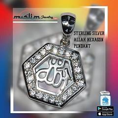 Rhodium-plated Sterling Silver Allah Pendants