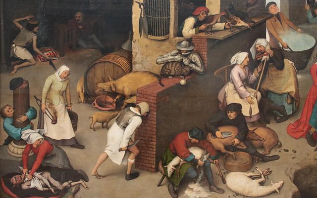 Pieter Bruegel il Vecchio (Breda, 1525/1530 – Bruxelles, 5 settembre 1569) - dettaglio Proverbi fiamminghi (in olandese: Nederlandse Spreekwoorden)  (1559) - olio su tavola dimensioni: 117×163 cm - Gemäldegalerie, Berlino