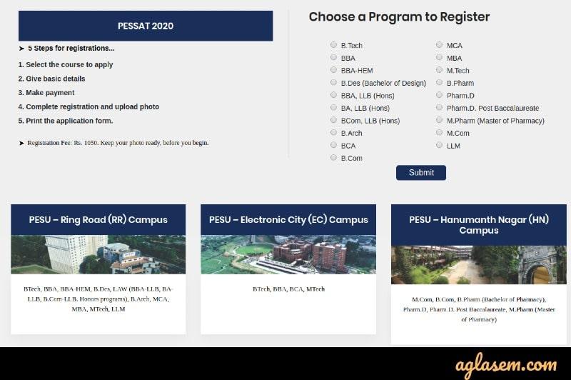 PESSAT 2020 Registration Started for  UG and PG Courses at pessat.pes.edu