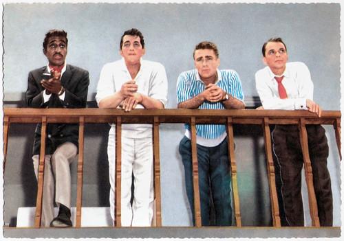Sammy Davis Jr., Dean Martin, Peter Lawford and Frank Sinatra
