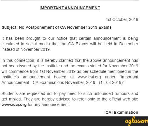 ICAI debunks rumors of CA November exam 2019 postponement, says exam will be as per schedule