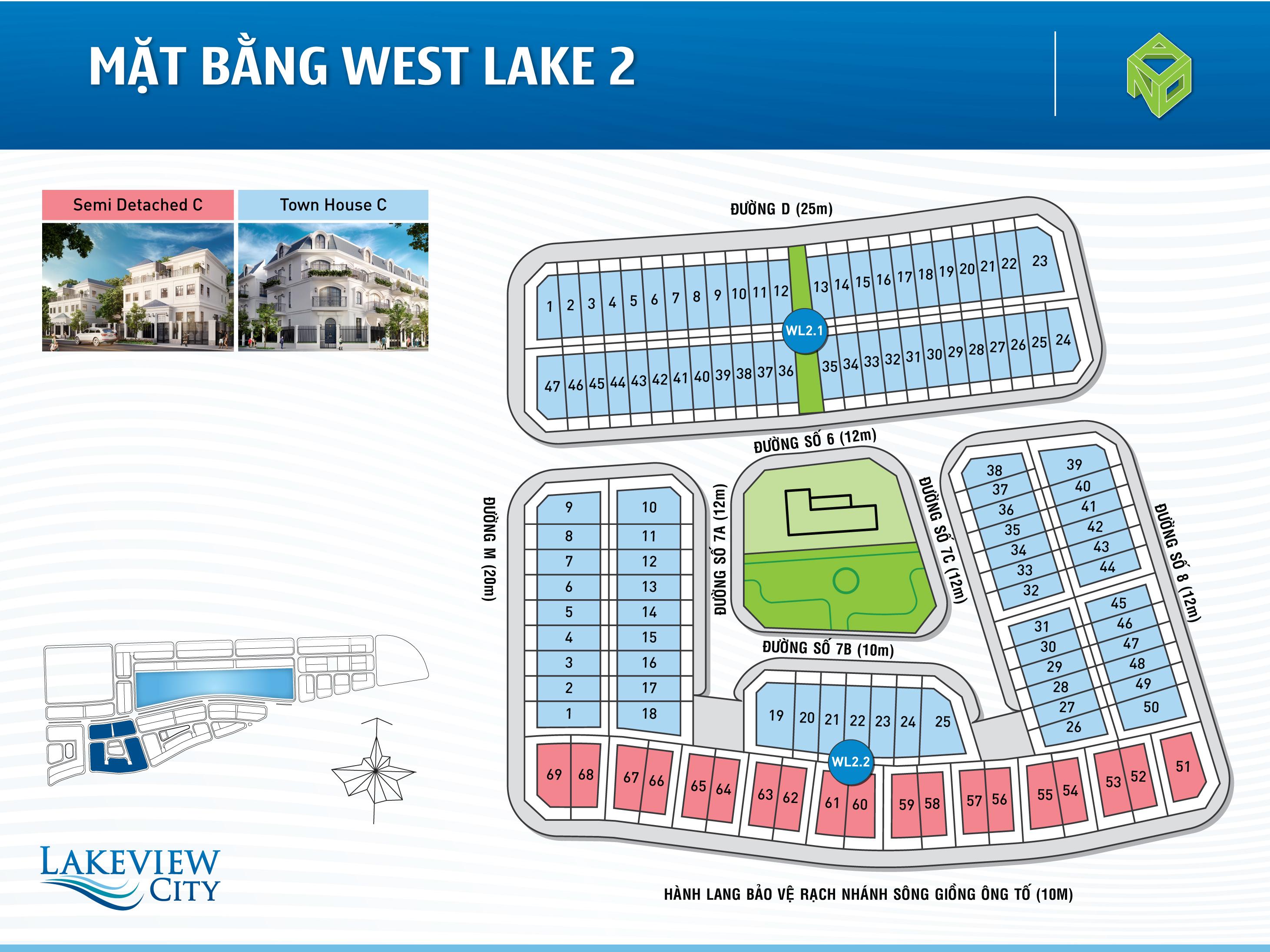 Mặt bằng West Lake 2 dự án Lakeview City