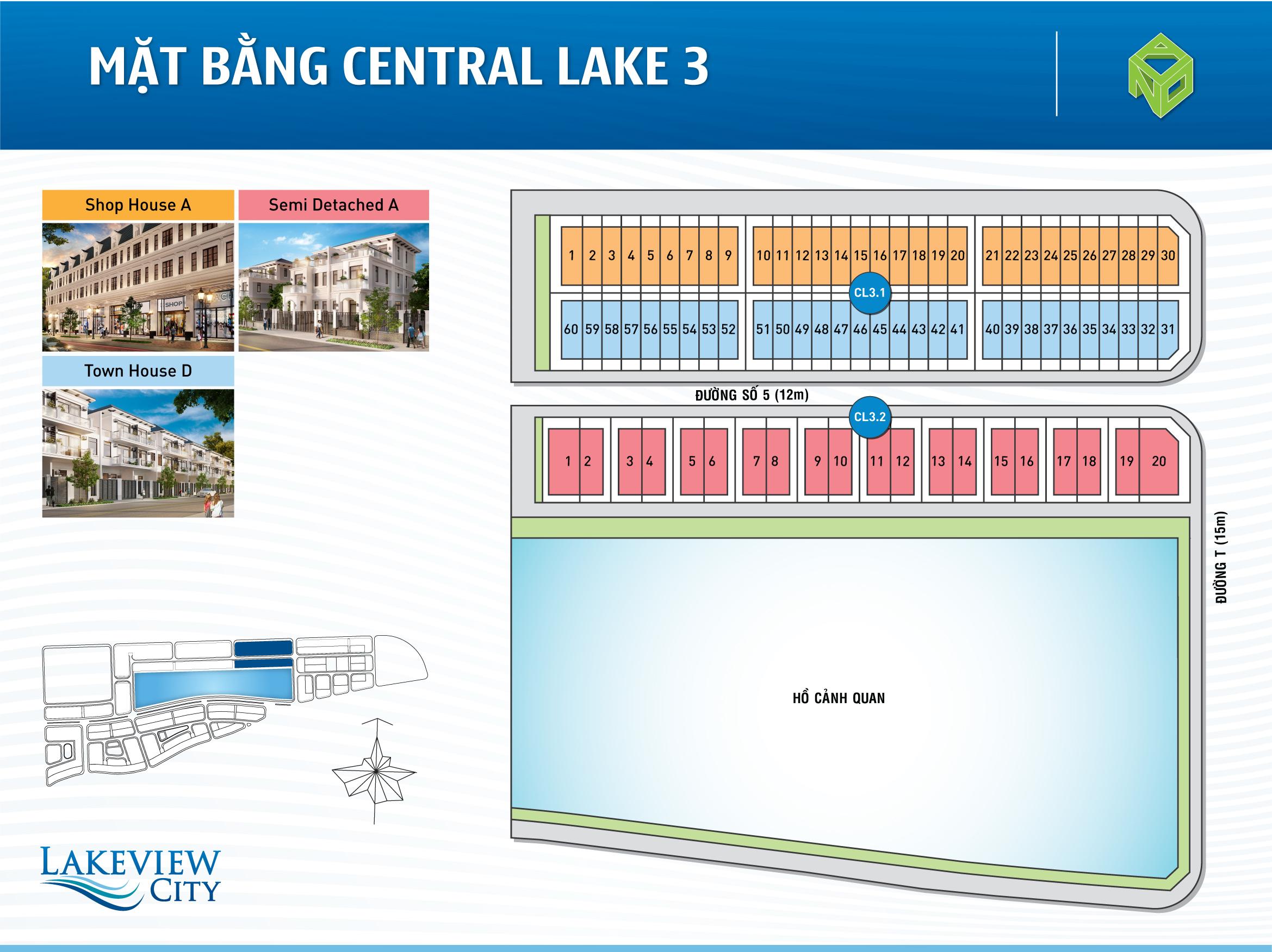 Mặt bằng Central Lake 3 dự án Lakeview City
