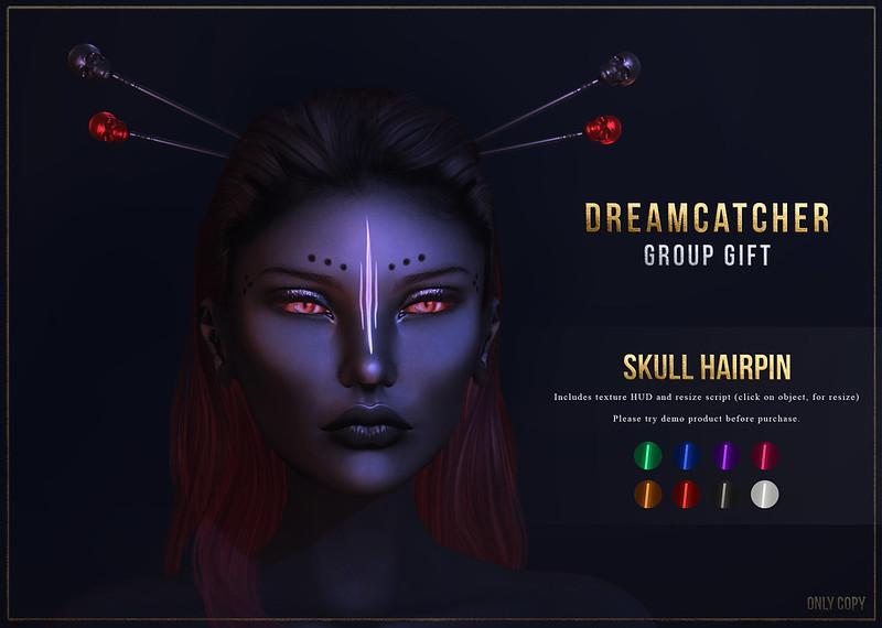 +Dreamcatcher+ Skull hairpin - Group Gift