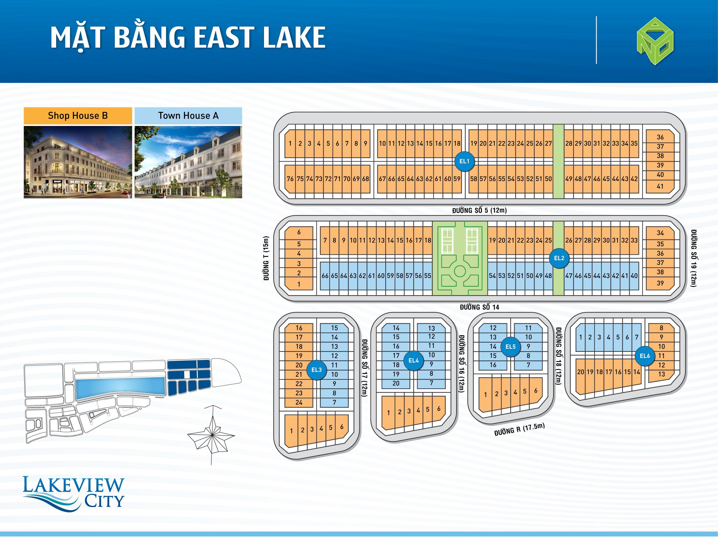Mặt bằng East Lake dự án Lakeview City