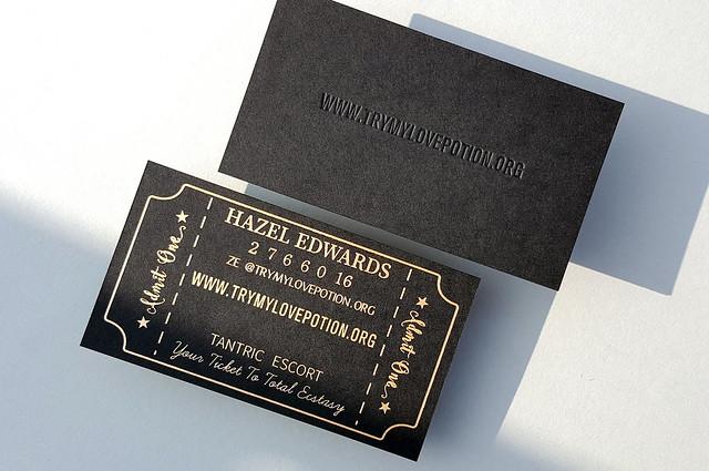 Black Business Cards 38pt - Deboss & Matte Gold  Foil