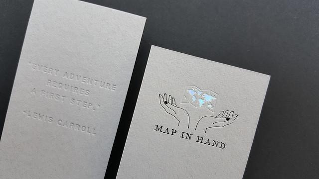 Gray Business Cards 38pt - Deboss & Hologram, Black Ink Foil 2