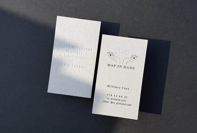 Gray Business Cards 38pt - Deboss & Hologram, Black Ink Foil